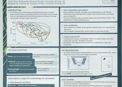 Interactive Symposium poster: Assessing the Impact of Automated Driving: Needs, challenges and future directions