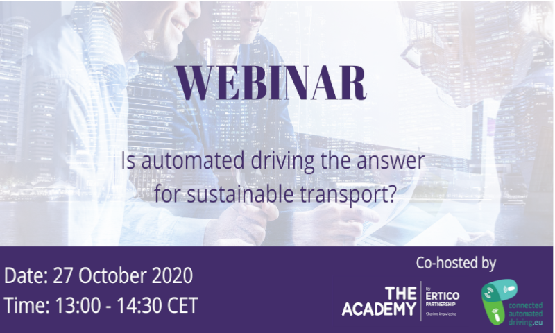 "EUCAD 3rd webinar – ""Is automated driving the answer for sustainable transport?"""